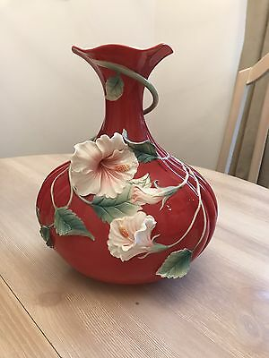 Rare Franz Porcelain Collection. Island Beauty. Hibiscus Flower Vase