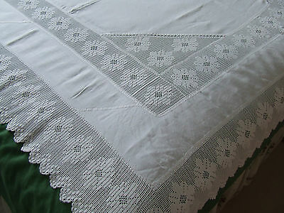 large antique linen tablecloth deep hand crochet lace with inserts