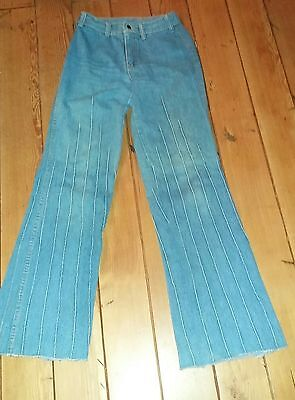 Vintage 1970's Brittania Jeans Bell Bottom Wide Leg Flared Ribbed Legs 2 Pocket