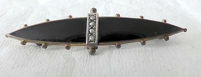 Victorian/Edwardian Seed Pearl and Black Enamel Mourning Brooch