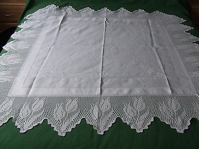 vintage linen and crochet lace tablecloth