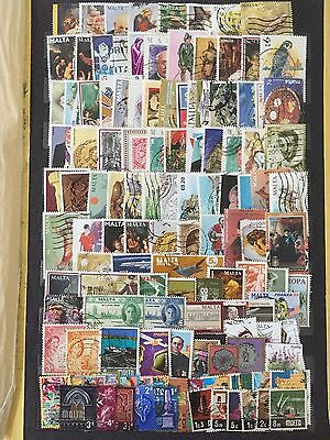 Large Lot Malta Stamps All Different Used