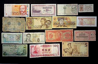 Collection of 15 World Banknotes - Interesting Lot - Various Condition
