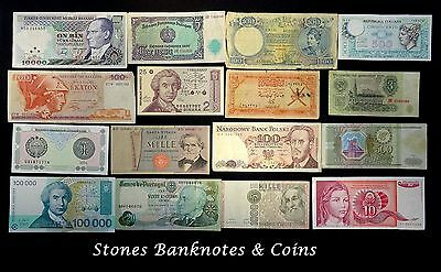 Collection of 16 World Banknotes - Interesting Lot - Various Condition