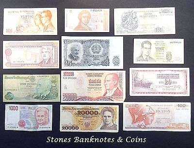 Collection of 12 World Banknotes - Interesting Lot - Various Condition