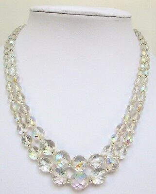 Two stunning vintage a.b crystal bead necklaces