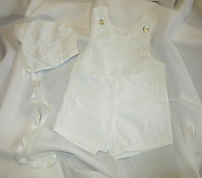Vintage Alexis Boys Dress White One Piece Romper Shortall Hat 6/9 Mths USA Made