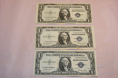3 1935 E $1 Dollar Silver Certificates 2 Off Center Very Fine About Uncirculated