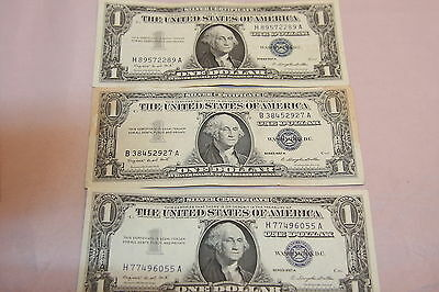 3 1957 A $1 Dollar Silver Certificates Center Fold on One Very Fine - About Unc