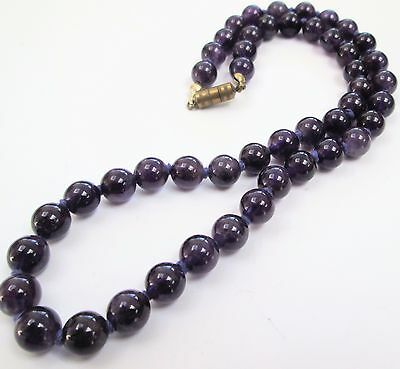 Gorgeous vintage hand knotted amethyst bead necklace