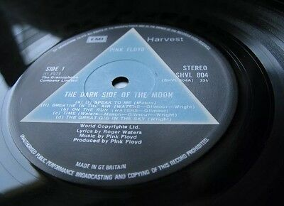 Pink Floyd Dark Side Of The Moon Solid Blue Triangle First Issue VG+/VG+