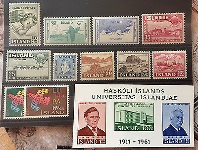 Iceland nice selection of mint hinged stamps