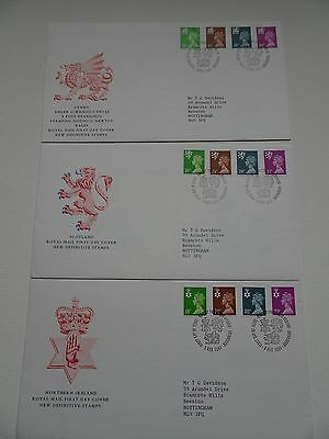 Set of 3 Royal Mail GB Regional Definitive FDC 1991