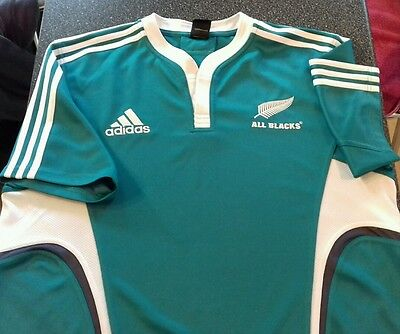 Adidas New Zealand All Blacks XL Turquoise Short Sleeved Rugby Shirt.