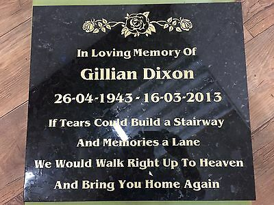 Granite cremation memorial Tablet 300mm x300mm x 30m very high quality stone