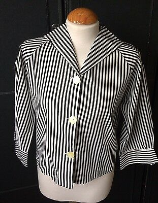 VINTAGE 70s BLACK & WHITE PIN STRIPE SAILOR STYLE BLOUSE 3/4 CUFFED  SLEEVES M