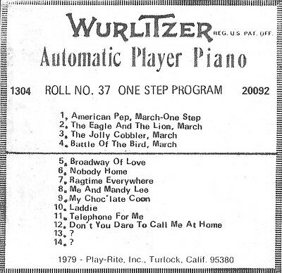 WurliTzer APP (AUTOMATIC PLAYER PIANO) Roll #37 - ONE STEP PROGRAM - NEW -GREAT!