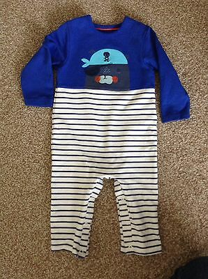Baby Boy M&S All In One Romper * 9-12 Months * Striped * Great Condition *