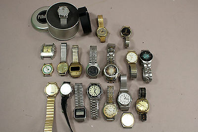 Lot of 20  Vintage Mens  Wristwatches Mixed Timex Nelsonic Lorus Elgin Pulsar +