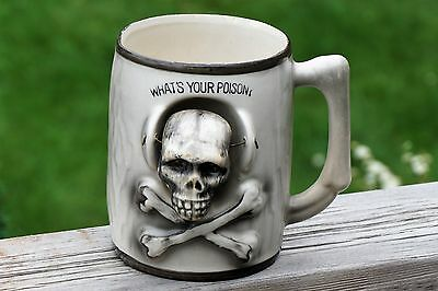 Rare Vintage Halloween - Skull Nodder Cup What's Your Poison  50-60s Japan Exc.