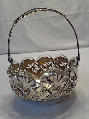 Vintage Pierced Sterling Silver Basket W/glass Insert