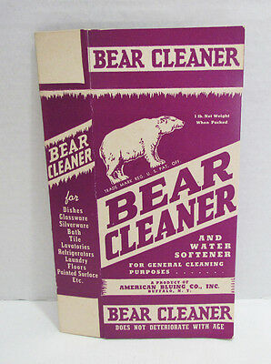 BEAR CLEANER VINTAGE SOAP LAUNDRY WATER SOFTENER BOX AMERICAN BLUING CO. of NY
