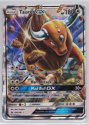 Tauros GX 100/149 Ultra Rare Sun & Moon Pokemon Card and N/M