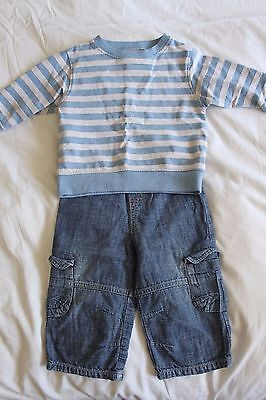 Baby boy Next outfit 9-12 months jeans and sweatshirt