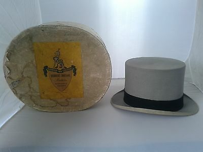 Vintage 50s Herbert Johnson London Grey Felt English Gentleman's Ascot Top Hat L