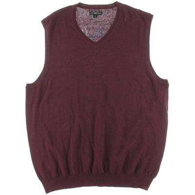 Club Room 9722 Mens Red Cotton V-Neck Knit Sweater Vest Top S BHFO