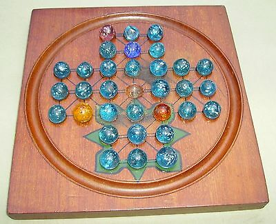 Antique Solitaire game with hand made  glass mica Marbles on mahogany board