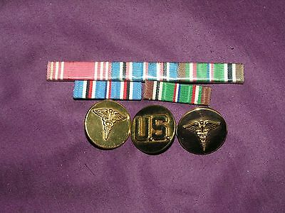 Vintage Lot Of 5 Military Ribbons 3 Pinbacks Medical And U.s.