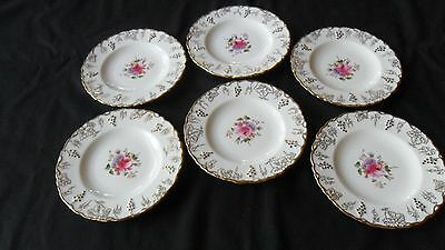 "Set of 6 Royal Crown Derby Vine Posie 6 1/4"" Diameter Bread & Butter Plates A929"