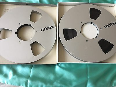 "2 X 10.5 1/2"" Metal Reel To Reel Spools 1 with tape 1 without tape. (Revox Logo)"