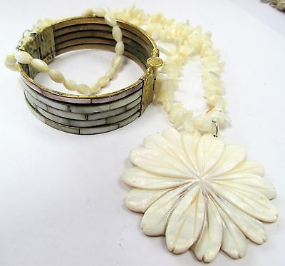 Good vintage gold metal & mother-of-pearl hinged cuff bracelet + pendant + 1