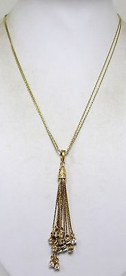 Good quality vintage gilded sterling silver tassel pendant necklace