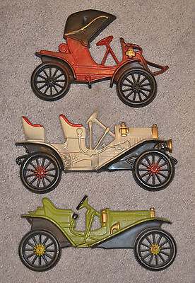 "Vintage Midwest set of 3 Aluminum cast antique car plaques/wall hangings 10""x5"""