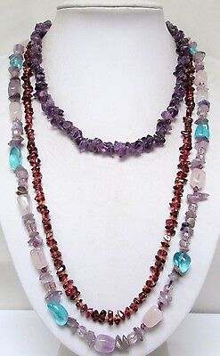 Long vintage agate, crystal & amethyst bead necklace + 2