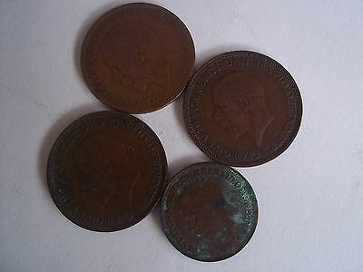George V Half-Pennys & Farthing x 4 from a House Clearance