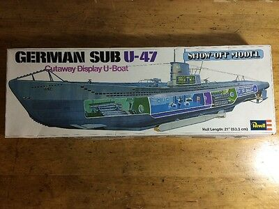 Revell German Sub U-47 Show Off Model 1975 Kit Never Assembled Submarine Vintage