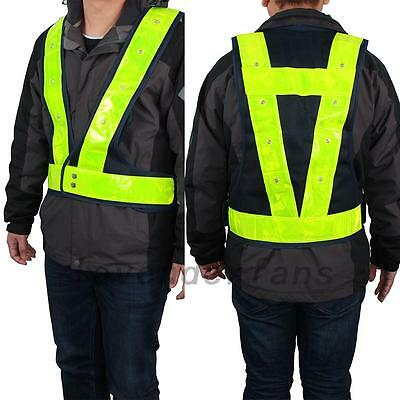 LED Reflective Safety Vest for Night Running Cycling High Visibility