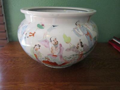 Antique Chinese Large Cache Pot Jardinere Signed Writing Hand Painted Fish