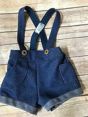 Vintage Carter's Romper 18 months denim look Made in USA button Overalls Toddler