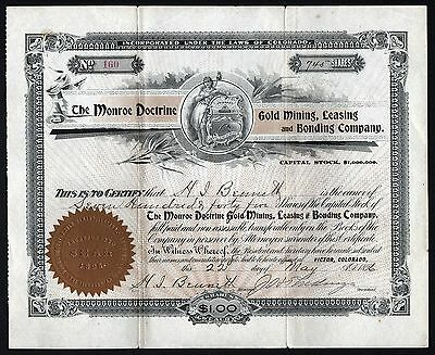 1896 Victor, Colorado: The Monroe Doctrine Gold Mining, Leasing and Bonding Co.