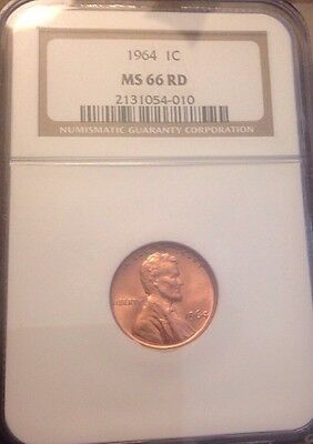 NGC MS 66 RD 1964 P Lincoln Cent