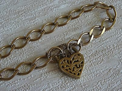 9k Yellow Gold Wide Curb Link Heart Padlock Bracelet Marked 375