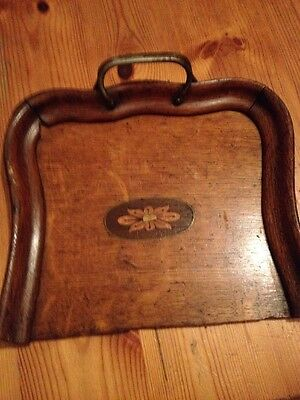 Antique Crumb Table Tray Pan Wooden Metal Handle