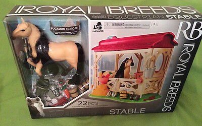Royal Breeds-  Equestrian Stable w/ Buckskin Morgan (Arabian)  NIB