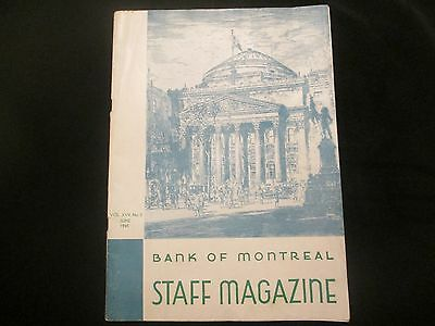 Bank Of Montreal   (June 1945)     Staff Magazine   Vintage Piece Of History