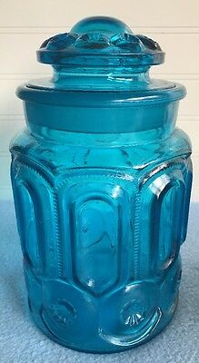 Vintage Medium BLUE MOON & STARS GLASS CANISTER L.E. Smith 1960s